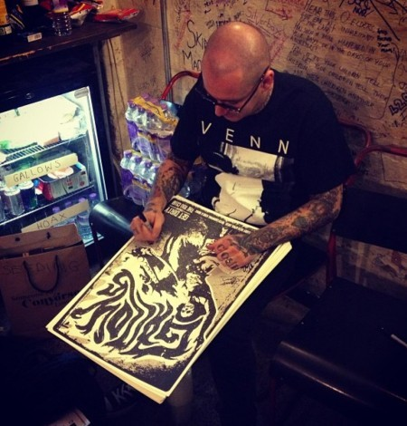 100 Club, London - April 2013 - Stu signing the screen prints