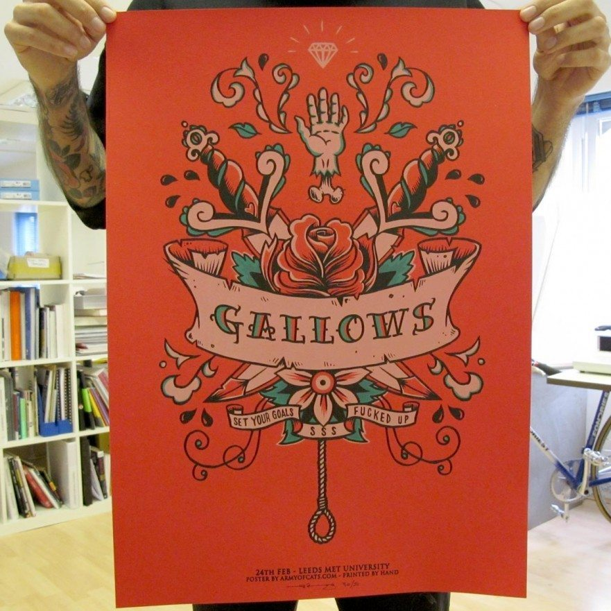 Leeds Feb 2008 - Gallows Poster - Venn Records