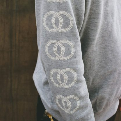 Venn Records - Grey Crew Neck with Snakes Sleve Print